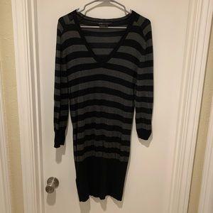 BCBGMAXAZRIA Black and Grey Striped Sweater Dress